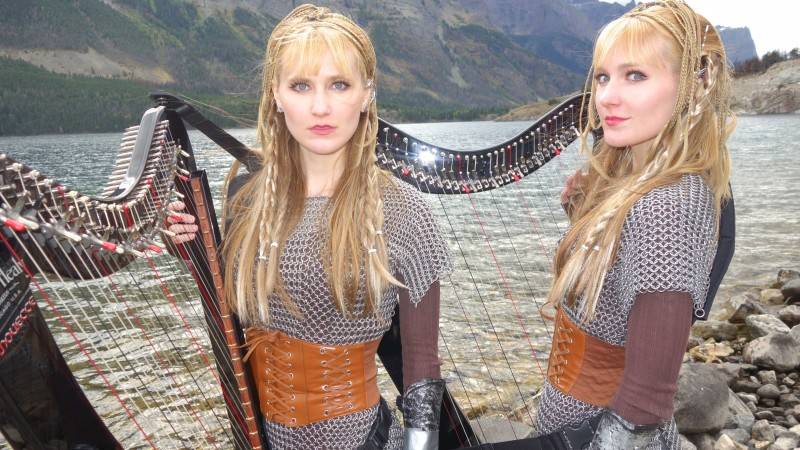 VIKINGS Theme (If I Had A Heart) Harp Twins - Camille and Kennerly