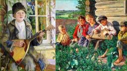 Русская деревня и славянские узоры в творчестве  художника Богданова-Бельского