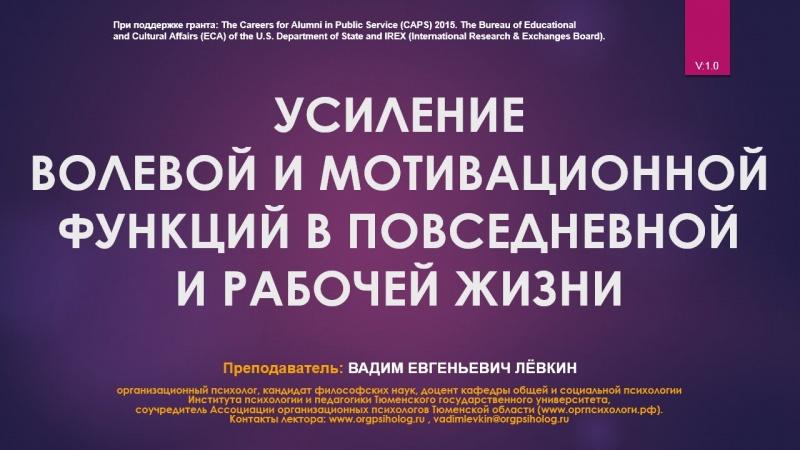Вадим Лёвкин - Усиление волевой и мотивационной функций в повседневной и рабочей жизни